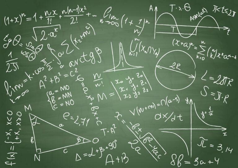 Mathematical formulas on a green school board